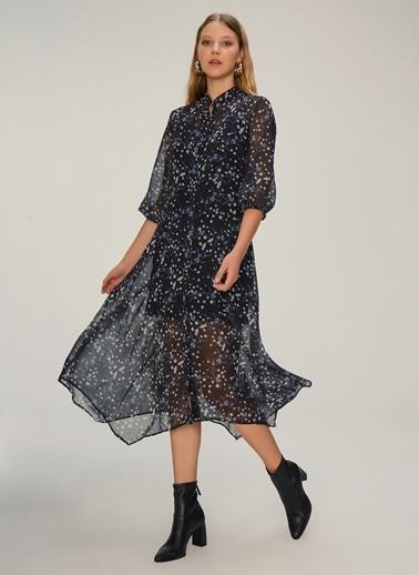 NGSTYLE Asimetrik Etekli Midi Elbise Siyah